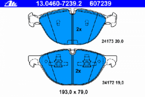 Тормозные колодки ATE 13.0460-7239.2 34 11 6 778 048 комплект 2 шт