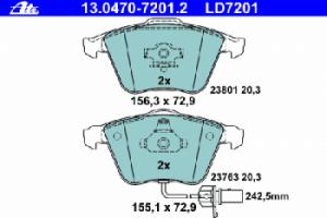 Тормозные колодки ATE CERAMIC с датчиком износа 13.0470-7201.2 4F0 698 151D комплект 2 шт