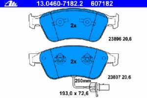 Тормозные колодки ATE с датчиком износа 13.0460-7182.2 4E0 698 151A 1 шт.