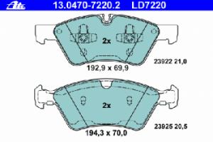 Тормозные колодки ATE CERAMIC 13.0470-7220.2 1644200820 1 шт.