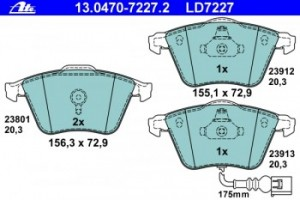 Тормозные колодки ATE 13.0470-7227.2 8J0 698 151F 1 шт.