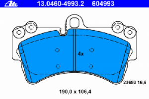 Тормозные колодки ATE для тормозной системы BREMBO 13.0460-4993.2 7L0 698 151E 1 шт.