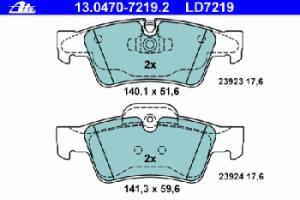 Задние колодки ATE CERAMIC 13.0470-7219.2 44205220 1 шт.